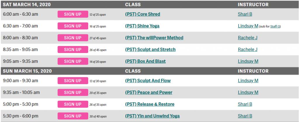 VFit Studio Free Weekend Class Schedule
